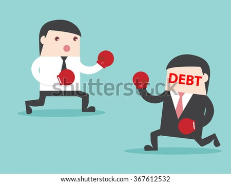 DEBT vs Businessman. businessman fight with DEBT. Flat design for business financial marketing banking advertisement office people property in minimal concept cartoon illustration. - stock vector