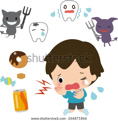 decayed tooth,crying child and bacteria - stock vector