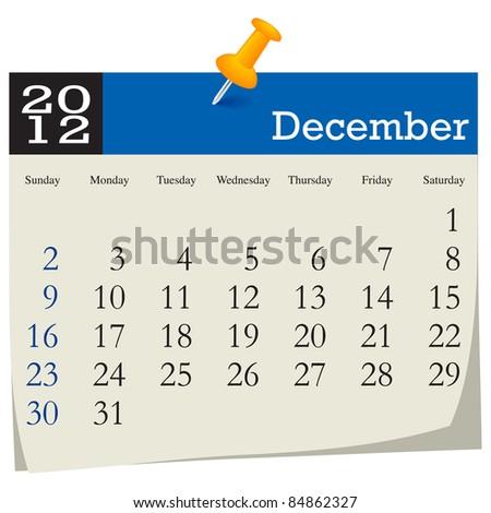 December 2012 Calendar - stock vector