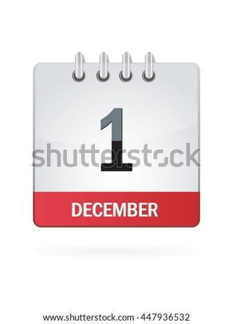 December 1 Calendar Icon - stock vector