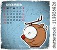 December. 2013 calendar with cartoon deer. - stock vector