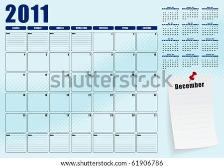 December desk planner for 2011 - stock vector