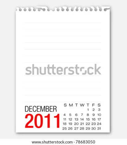 December month calendar 2011 on note paper