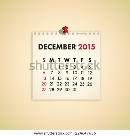 December 2015 Note Paper Calendar Vector - stock vector