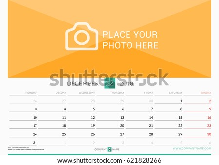 December 2018. Wall Monthly Calendar for 2018 Year. Vector Design Print Template with Place for Photo. Week Starts on Monday. Landscape Orientation