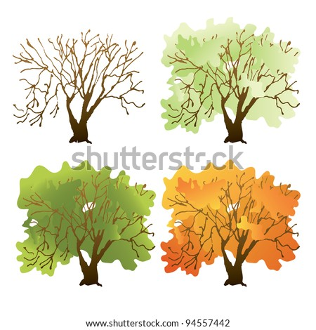 Deciduous tree during different seasons.Used a linear gradient.