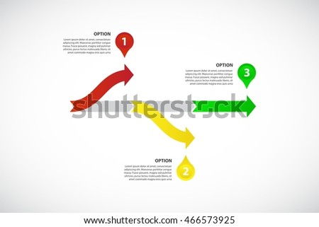 decision tree timeline vector infographic template consisting of 3 bright arrows