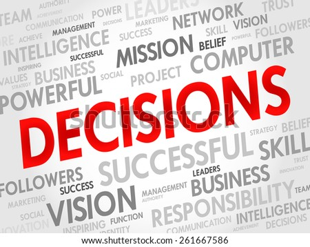 DECISIONS word cloud, business concept - stock vector