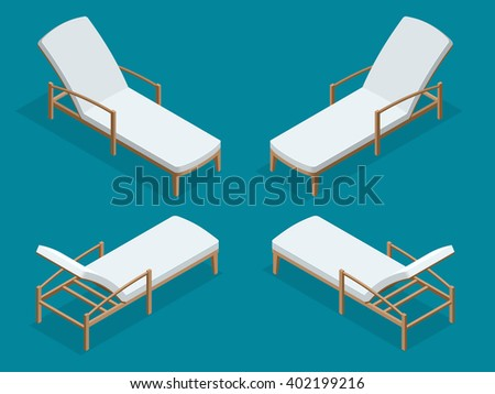 Deck chair, Beach chaise longue, Sun lounger, Deckchairs, Beach Chair, sunbed. Beach chairs isolated on blue background. Wooden beach chaise longue. Flat 3d isometric vector illustration. - stock vector