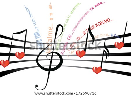 Declaration of love written in various languages and fonts on the staff notation with heart shaped notes and treble clef - stock vector