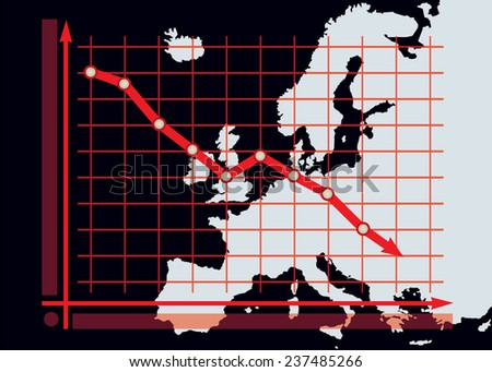 Decline chart diagram with red down arrow on Europe map background vector - stock vector