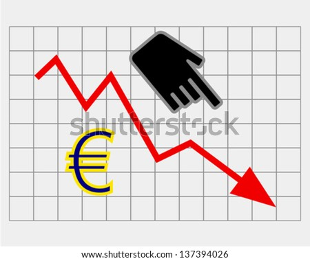 Declining equity price of euro - stock vector