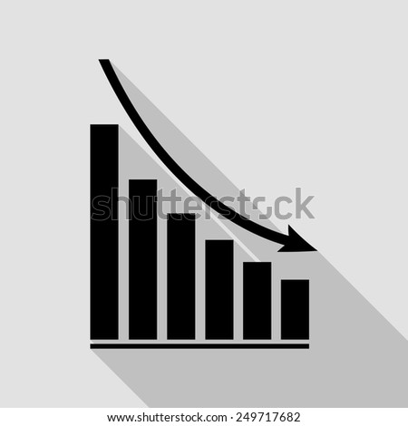 declining graph icon - black illustration with long shadow