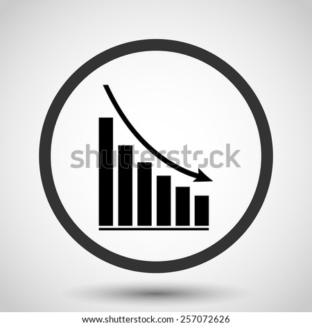 Declining graph vector icon - black illustration - stock vector