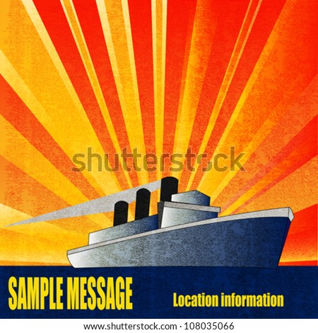 Deco style vintage vector poster for a Cruise Liner in the sun - stock vector