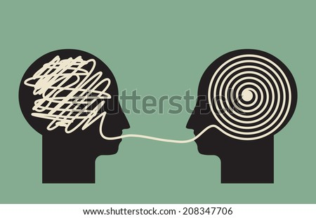 decoding and understanding problem, face to face explanation concept   - stock vector