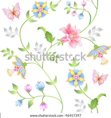 Decor floral elements seamless set isolated on white background (vector) - stock vector