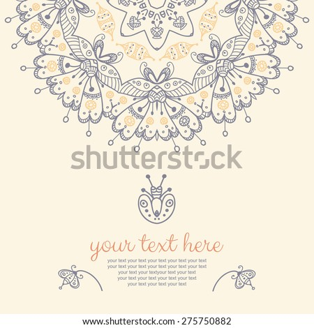Decor for your design. Vintage lace doily. Decorative banner with mandala. Can be used as a invitation,  wedding card, banner, birthday card, brochure, card, template for your greeting message, etc. - stock vector