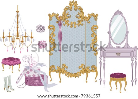 Decor items of dressing room in victorian style