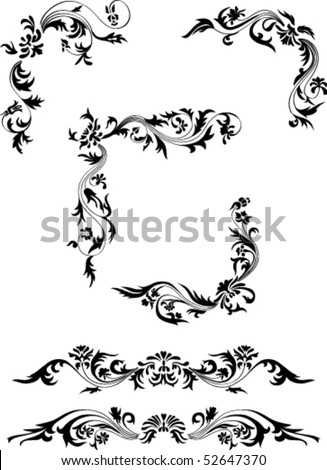 decor with floral ornament. all detail are separated. It easy to regroup, recolor, mirrored part, or do any changes - stock vector