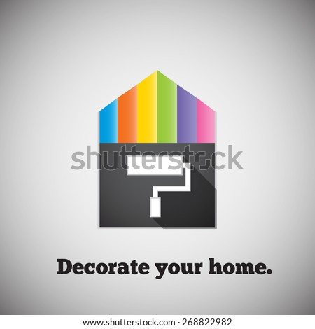 Decorate your home. Bright picture house and palettes. - stock vector