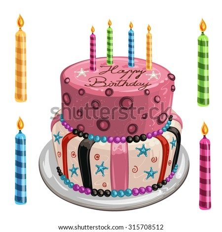 Decorated birthday cake - stock vector