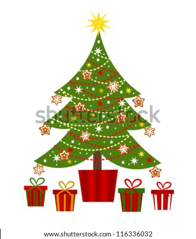 Decorated Christmas tree and presents - vector illustration - stock vector