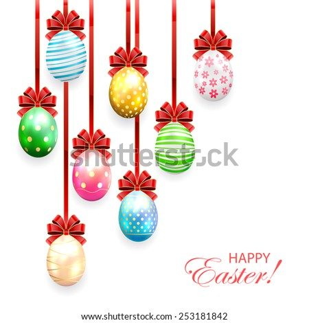 Decorated Easter eggs with bow on white background, illustration. - stock vector