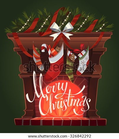 Decorated fireplace. Christmas greeting card \ background \ poster. Vector illustration. - stock vector