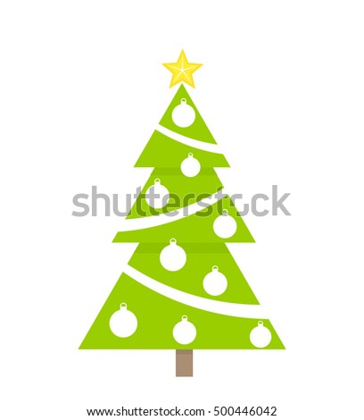 Decorated green Christmas tree. Vector illustration