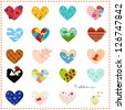 decorated hearts with different subjects and patterns - stock vector