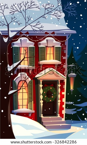 Decorated house facade. Christmas greeting card \ background \ poster. Vector illustration. - stock vector