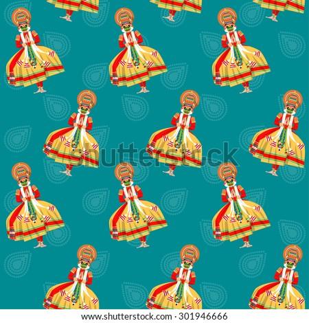Decorated Indian Kathakali dancer. Happy Onam. Seamless background pattern. Vector illustration  - stock vector