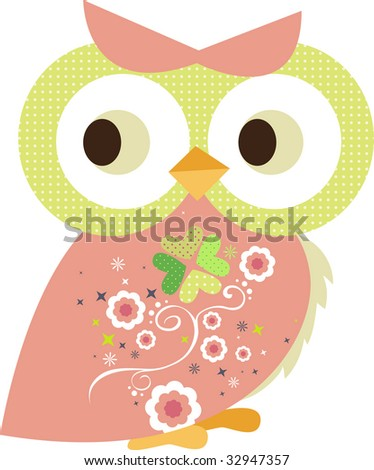 decorated owl character - stock vector