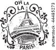 Decorated Paris Stamp - stock vector
