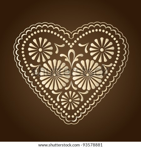 decorated with hearts on a brown background - stock vector