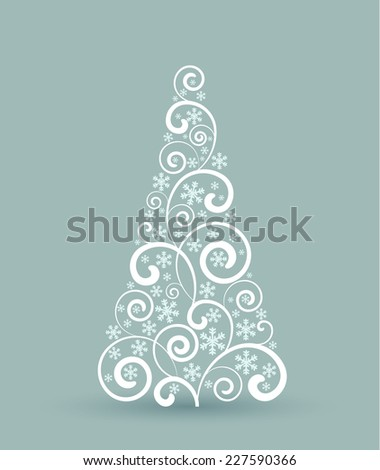 Decorating a Christmas tree with ornaments, Christmas card - stock vector