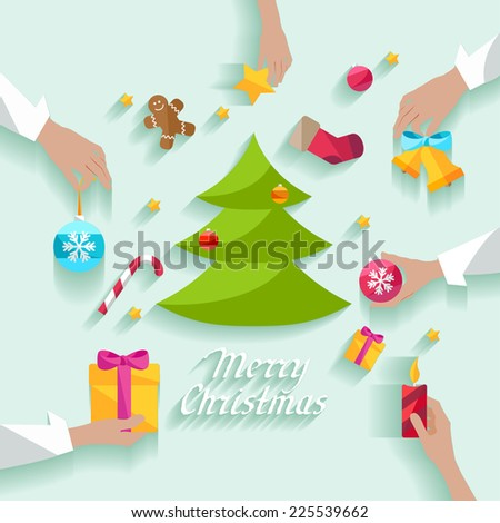 Decorating  Christmas tree.  - stock vector