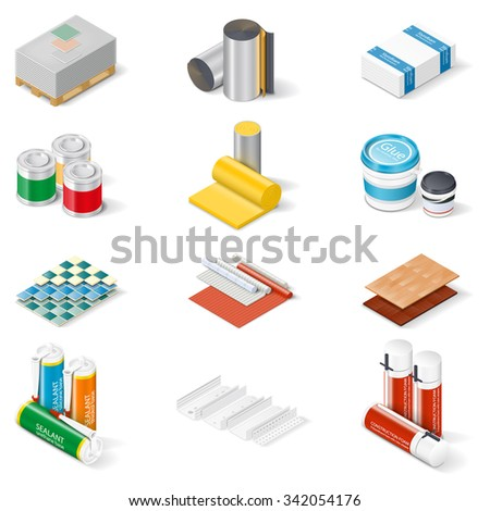 Decoration and insulation materials isometric icon set, materials walls and ceilings, flooring, insulation and building mixes, vector graphic illustration - stock vector
