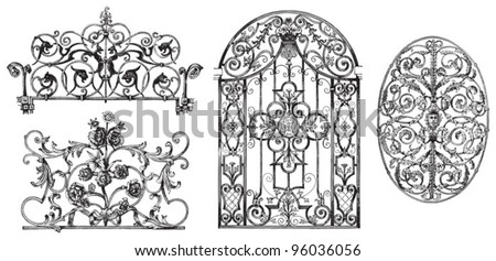Decoration elements collection (lattice) / vintage illustration from Meyers Konversations-Lexikon 1897 - stock vector