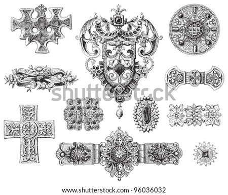 Decoration elements collection / vintage illustration from Meyers Konversations-Lexikon 1897 - stock vector