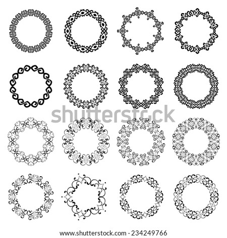 Decoration elements patterns in big pack. Mega set of 16 the most popular round frames. Monochromatic vintage borders in collection. Isolated on white background. Vector illustration  - stock vector