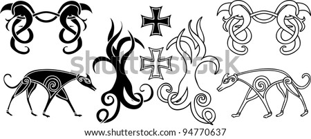 Decoration elements set in viking style - stock vector