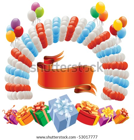 Decoration for birthday and party - design elements - stock vector
