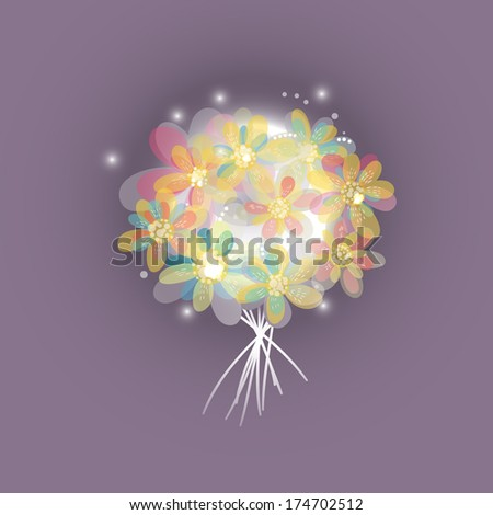 decoration in the form of a bouquet of flowers with transparent petals - stock vector
