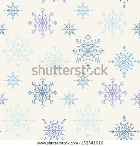 Decoration snowflakes seamless background. Vector illustration.