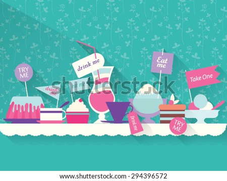 decoration Sweets, dessert, drinks on the table - stock vector