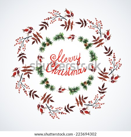 Decorations with Christmas plants. Watercolor. Christmas decor. Illustration for greeting cards, invitations, and other printing projects. - stock vector