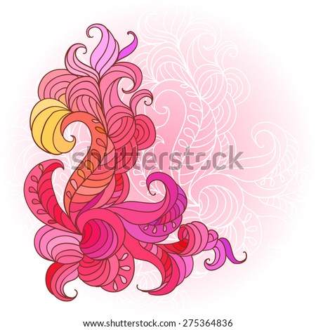 Decorative abstract hand drawn element, ornate paisley lace pattern