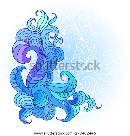 Decorative abstract hand drawn element, ornate paisley lace pattern - stock vector